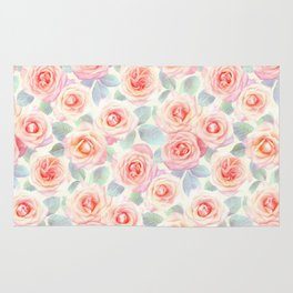 Faded Vintage Painted Roses Rug