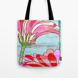 Gerbera flowers print, floral pattern in mint and pink Tote Bag