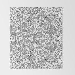 Detailed Mandala Frenzy Black and White Throw Blanket