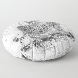 Cheetah in Black and White Floor Pillow