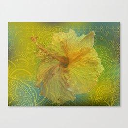 zen pattern yellow hibiscus Canvas Print