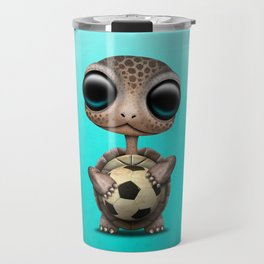 Cute Baby Turtle With Football Soccer Ball Travel Mug
