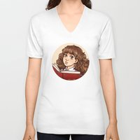 hermione V-neck T-shirts featuring Young Hermione by Kata (koomalaama)
