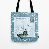 postcard Tote Bags featuring Blue postcard by Marion de Lauzun