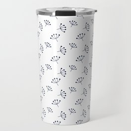 Navy blue Queen Anne's Lace pattern Travel Mug