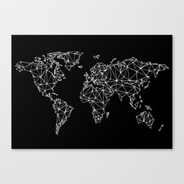 World map black Canvas Print