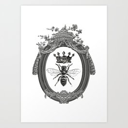 Queen Bee | Vintage Bee with Crown | Black, White and Grey | Art Print
