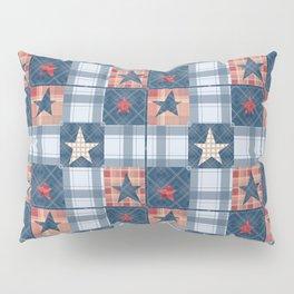 Blue denim plaid patchwork . Pillow Sham
