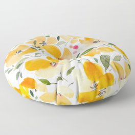 Yellow and Orange Floral Floor Pillow