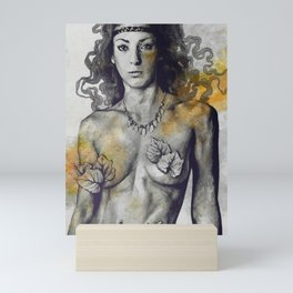 Colony Collapse Disorder: Gold (nude warrior woman with autumn leaves) Mini Art Print