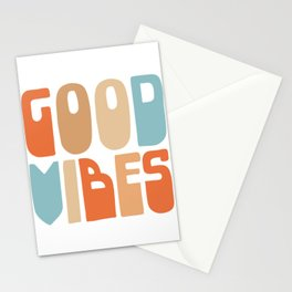 Good Vibes. Retro Lettering in Orange, Tan, and Light Blue on White. Spread Positivity Stationery Cards