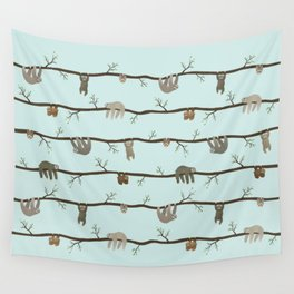 sloths (blue) Wall Tapestry