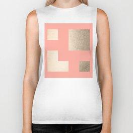 Simply Geometric White Gold Sands on Salmon Pink Biker Tank
