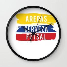 Arepas Cerveza Futsal design Colombian indoor soccer Gift Wall Clock