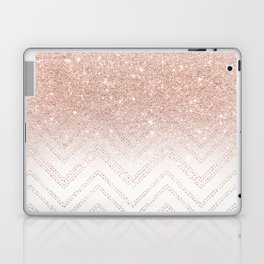 Modern faux rose gold glitter ombre modern chevron stitches pattern Laptop & iPad Skin