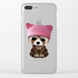 Cute Baby Red Panda Wearing Pussy Hat Clear iPhone Case