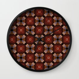 Red Square and White Circle Pattern Wall Clock