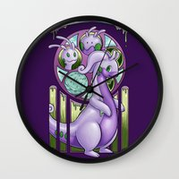 mucha Wall Clocks featuring Mucha Goodra by daftmue