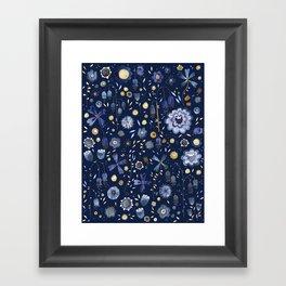 Indigo Flowers at Midnight Framed Art Print