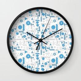 Blue White Geometric Shapes Wall Clock