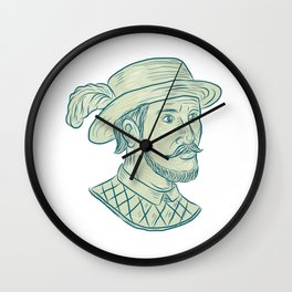 Juan Ponce de Leon Explorer Drawing Wall Clock