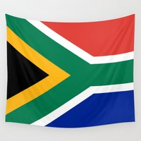 south africa Wall Tapestries featuring National flag of the Republic of South Africa - Authentic by LonestarDesigns2020 is Modern Home Decor