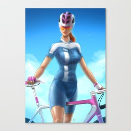 Cyclist girl Canvas Print