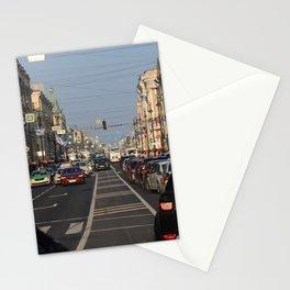 Cars traffic on Nevsky Prospect Stationery Cards