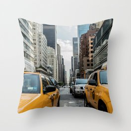 Taxis on New York City Street Throw Pillow