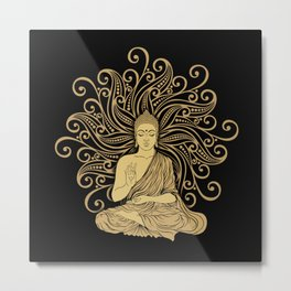 Mandala Golden Buddha Metal Print