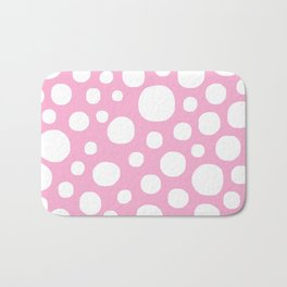 Pink Negative Dots w/ White Background Bath Mat