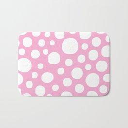 Pink Negative Dots w/ White Background Bath Mat