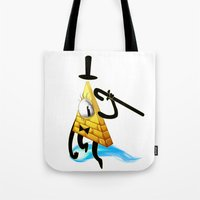 bill cipher Tote Bags featuring Bill Cipher by Draikinator