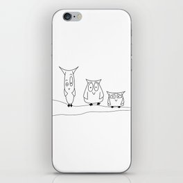 Three owls on a branch iPhone Skin