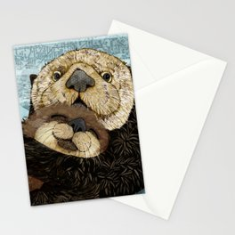 Sea Otter Mother and Baby Stationery Cards