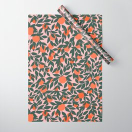 Oranges and Leaves Pattern - Pink Wrapping Paper