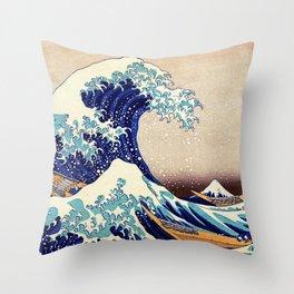 Katsushika Hokusai The Great Wave Off Kanagawa Throw Pillow