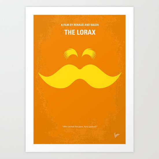 No261 My THE LORAX minimal movie poster Art Print