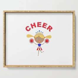 Cheerleader With Pom Poms and Cheer in Arched Text  Serving Tray