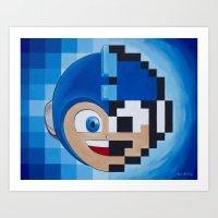 Half Mega Pixel Man Art Print
