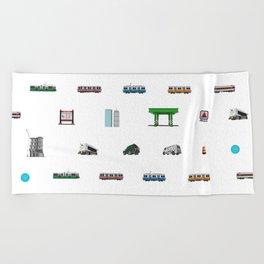 Boston Pixel Pattern Beach Towel