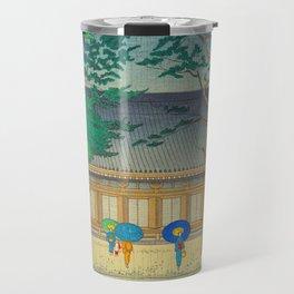 Asano Takeji Rain At Sanjusangendo Temple Vintage Japanese Woodblock Print East Asian Culture Travel Mug