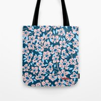 cherry blossom Tote Bags featuring Cherry Blossom by Alannah Brid
