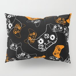 Video Game Orange on Black Pillow Sham