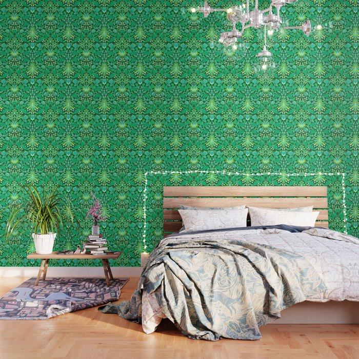 William Morris Hyacinth Print Emerald Green Wallpaper By Mmgladn10