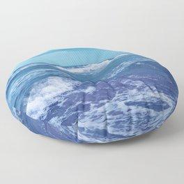 Blue Atlantic Ocean White Cap Waves Clouds in Sky Photograph Floor Pillow