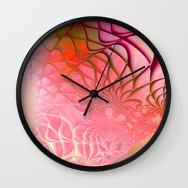 Web of the Universe (coral and magenta) Wall Clock