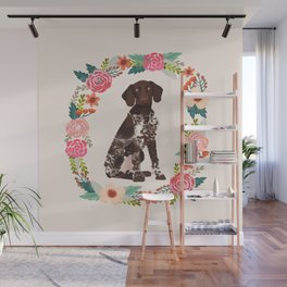 german shorthair pointer floral wreath spring dog breed pet portrait gifts Wall Mural