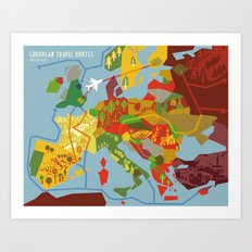 Abstract European Travel Map Art Print
