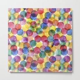 Multi-Color Watercolor Paint Dabs Pattern Metal Print